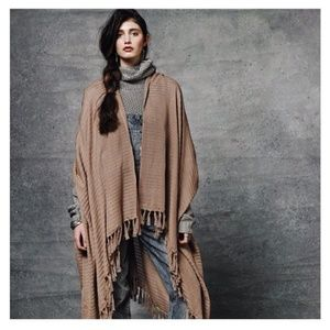 Handwoven Fringed Poncho with Stripe Pattern Tan